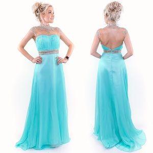 Aqua Chiffon Illusion Evening Gown Prom Dress